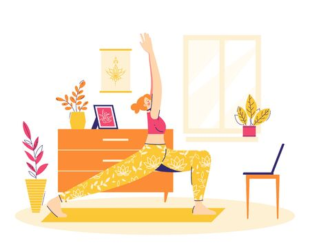 Home workout. Girl is practicing online yoga in the warrior pose. Illustration