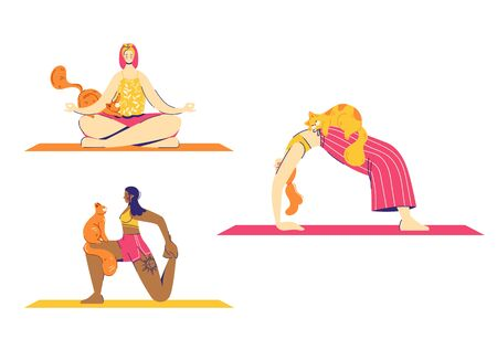 Female characters practice yoga with cats. Wheel, lotus and lunge pose.