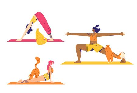 Female characters practice yoga with cats. Warrior, upward and downward facing dog pose.