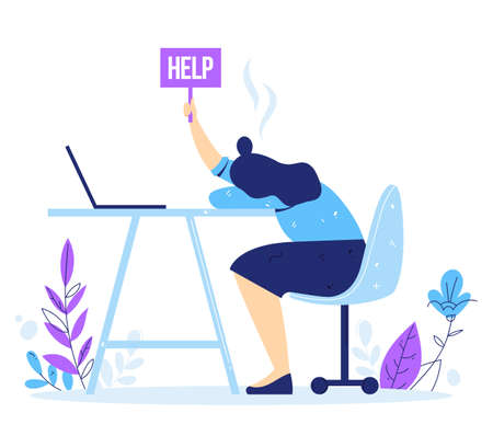 Professional and emotional burnout syndrome. Exhausted male manager sitting at the office. Tired businesswoman holds the sign Help. Hard work.
