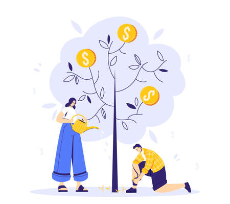 Growing tree with coins, caring for a tree, woman watering the plant, man cleaning the weeds. Growing business concept. A symbol of successful business
