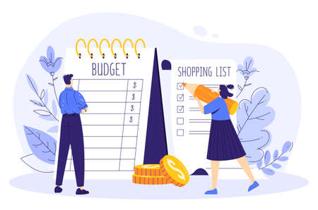 Family budget concept. The couple is planning finances at crisis. A woman writes a shopping list, a man calculates a budget.
