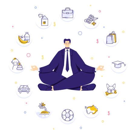 Man sitting in yoga lotus pose and meditating. Human needs icons. Life balance concept
