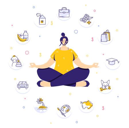 Woman sitting in yoga lotus pose and meditating. Human needs icons. Life balance concept.