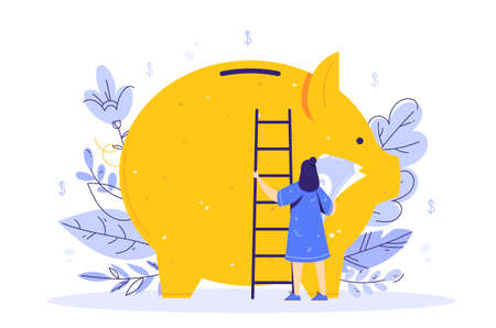 Saving money concept. A girl stands with a ladder and banknotes next to a piggy bank. 向量圖像