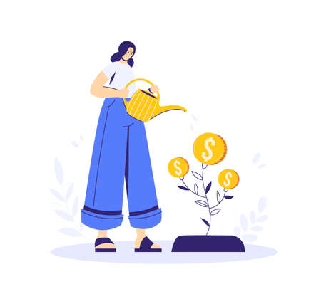 Growing tree with coins, caring for a tree, woman watering the plant. Growing business concept. A symbol of successful business.