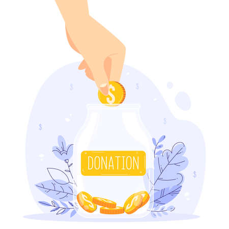 Gratuity concept. Jar of tips. Good feedback or donation for the great service.
