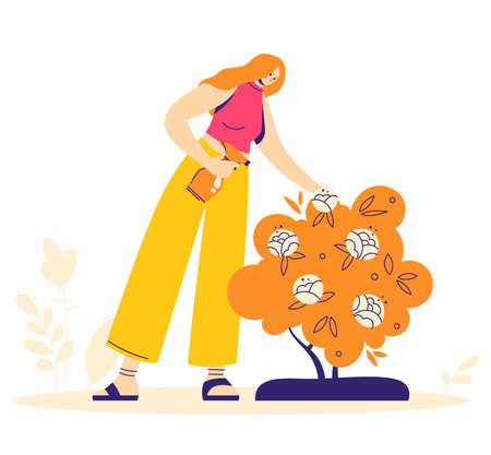 Gardening concept. Woman character sprinkles flowers with fertilizers. Hobby gardener