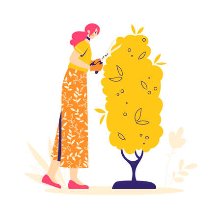 Gardening concept. Woman character sprinkles flowers with fertilizers. Hobby gardener. 向量圖像