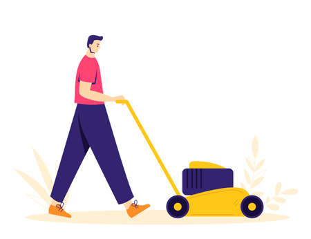 Garden work concept. The man character is digging the ground with a shovel. Hobby gardener.