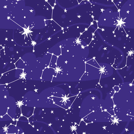 Constellations and stars vector seamless pattern. Astronomical background with zodiac signs