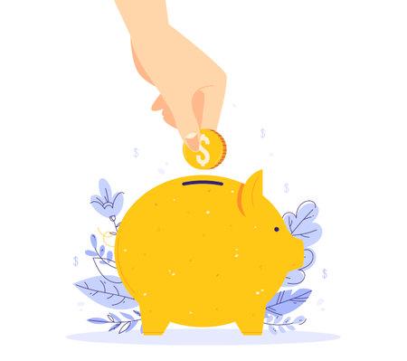 Saving money concept. Human hand put money in a piggy bank