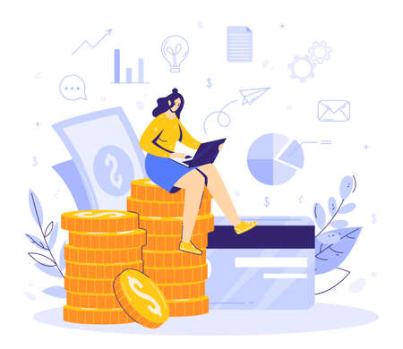 Online work in internet concept. Modern business. Woman sits on a stack of moments and earns remotely using a computer. Card and banknotes, financial icons. Successful full-time freelancer.