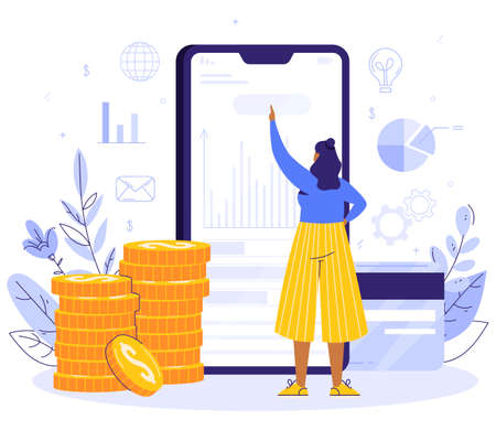 Online Payment concept. The girl is standing next to the smartphone. Money Transfer and Payment Transaction in Online Banking Mobile App. Coins and card