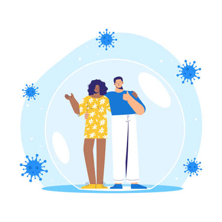 Man and woman stands inside a protective bubble. Adult characters are vaccinated and protected from coronavirus COVID-2019.