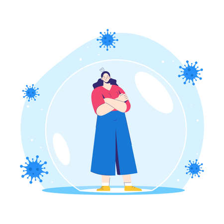 Woman stands inside a protective bubble. Adult character is vaccinated and protected from coronavirus COVID-2019.