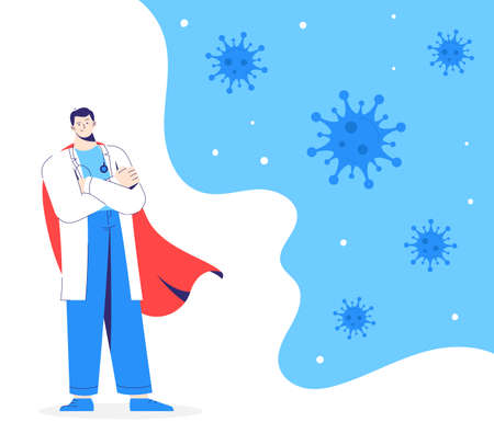 Doctor hero in white coat and red cloak stands on the protection against viruses. 向量圖像