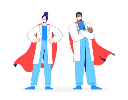 Characters man and woman doctors heroes in white coat, mask and red cloak stands on the protection against viruses.