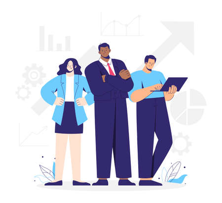 Business team, group of working people. Leader, businesswoman and man with laptop. Business graphics and icons.