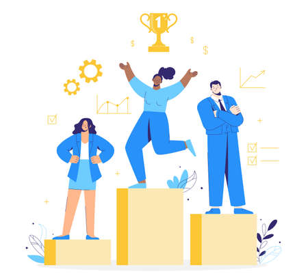 Business victory. People stand on the podium first, second and third place. Team winning award and celebrating success. Characters getting gold cup trophy.