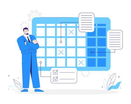Man stands near a calendar. Business planning schedule. Character plans his job. 向量圖像