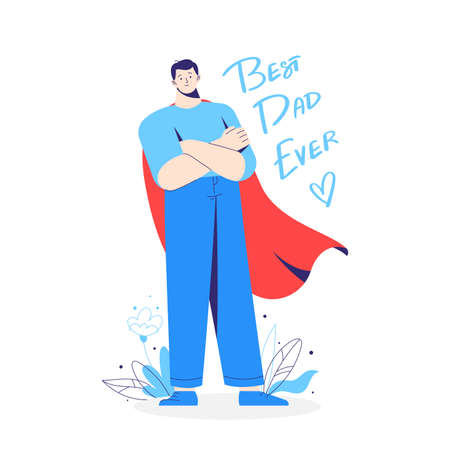 Father, dad, daddy as a hero, in a superhero costume with red cloak. Inscription best dad ever.