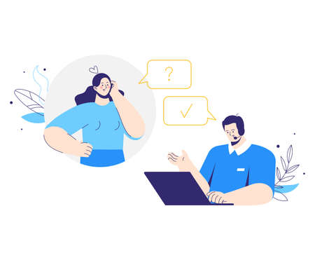 Client character call to customer service. Man operator with headphones and microphone with laptop. Woman asks a question. Technical support, assistance, call center concept. 向量圖像