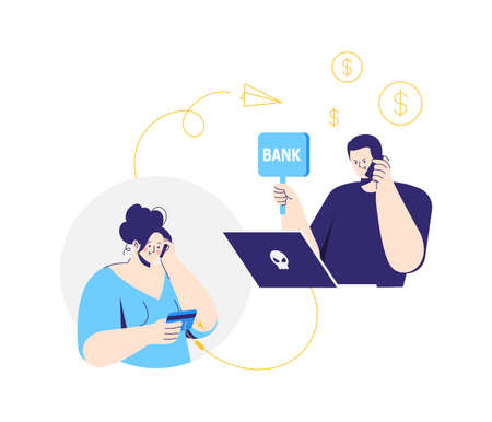 Online crime. A man pretending to be a bank clerk. A fraudster calls to woman on the phone and asks for banking information. The criminal steals money.