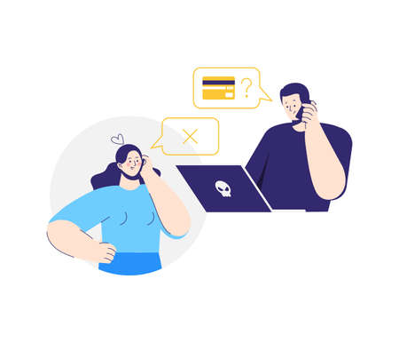 Online crime. A man pretending to be a bank clerk. A fraudster calls to woman on the phone and asks for banking information. Woman stops a swindler. 向量圖像