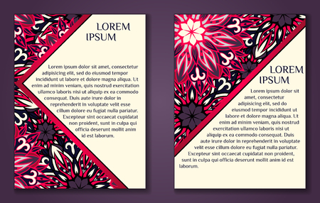 a5: Vector vintage cards with floral mandala pattern and ornaments. Vintage cards with round floral ornament pattern. Vector flyer size A5. Decorative oriental templates for Brochure
