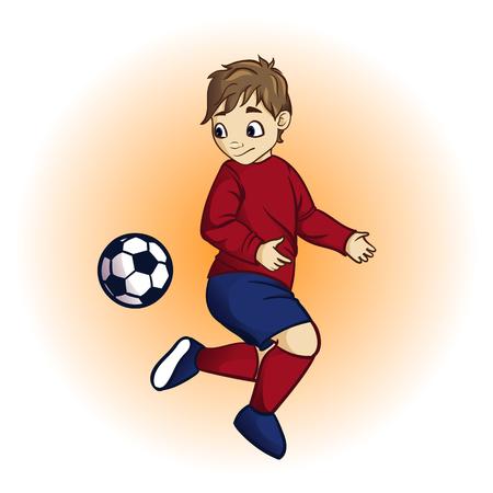 jugadores de futbol: Poco jugador de fútbol. Vector ilustración de un pequeño jugador de fútbol patear un balón de fútbol. Poco fútbol niño jugando. ilustración vectorial de dibujos animados. Vectores