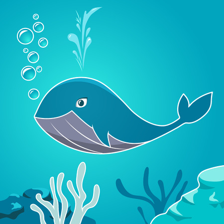 ballena azul: Dibujos animados ballena azul bajo el agua. Ballena en un fondo marino de fondo. Vectores