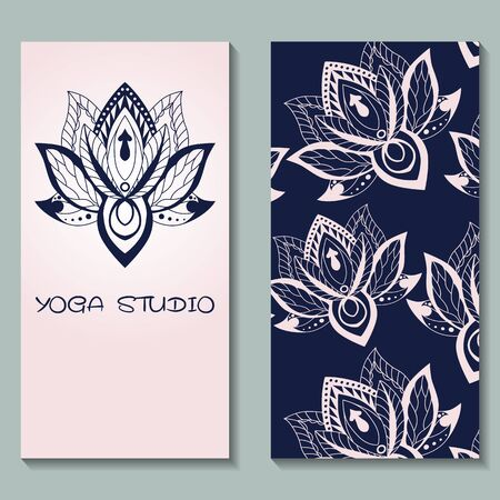 retreat: Cards template for yoga studio with lotuses. Yoga vertical vector banner. Business card template for yoga retreat, can be used for Hinduism religious organization. vector illustration