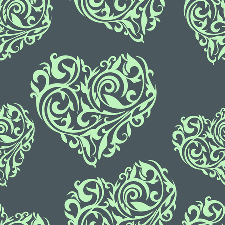Seamless vector pattern with ornate hearts. Hearts from floral tracery.