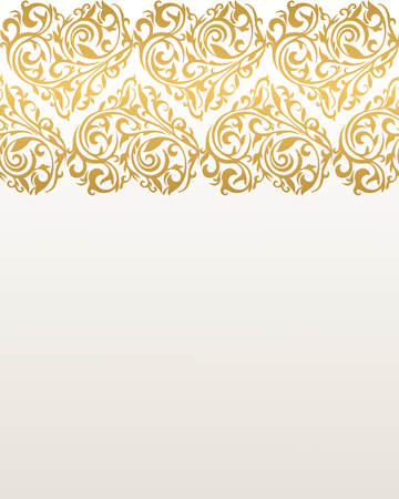 ornamentation: Ornate vector border with hearts. Hearts from floral tracery. Gold border. Border with hearts