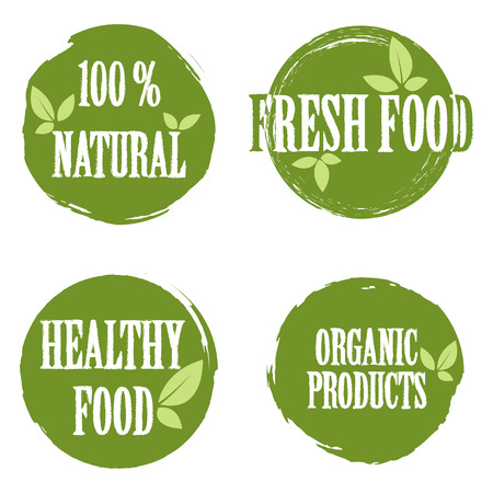 fresh food: Set of bubbles, stickers, labels, tags with text. 100% natural product, 100% organic, healthy food. Organic food badges in vector (cosmetic, food). Fresh food. Illustration