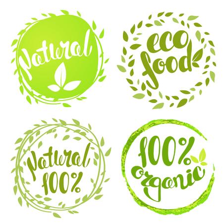 Set van bellen, stickers, labels, tags met tekst. 100% natuurlijk product, 100% biologische, gezonde voeding. Biologisch voedsel badges in vector (cosmetica, voedsel).