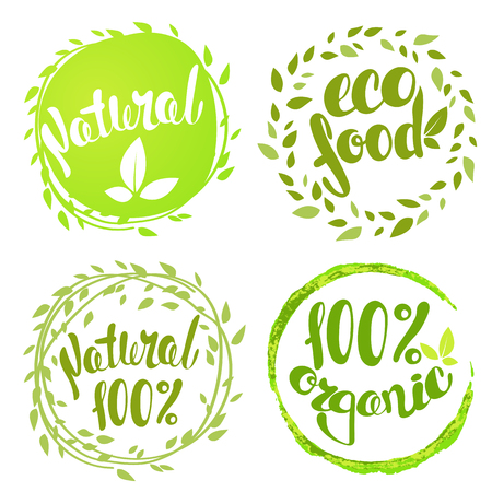 Set of bubbles, stickers, labels, tags with text. 100% natural product, 100% organic, healthy food. Organic food badges in vector (cosmetic, food).