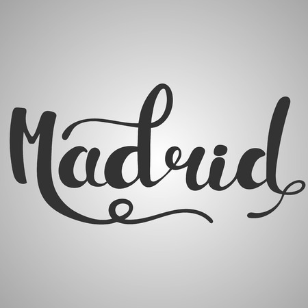 madrid: Madrid lettering. Hand written Madrid. Modern hand lettering. Vector Illustration.