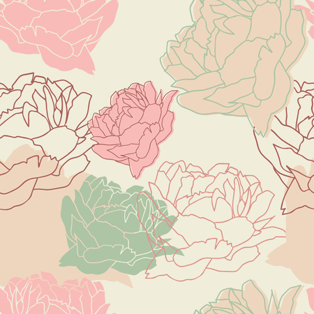 peon: Seamless pattern with peonies. Floral wallpaper. Floral background with peonies. Beautiful floral pattern. Vector Illustration.