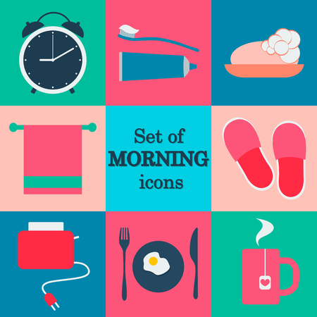 morning routine: Set of morning icons. Flat vector design. Morning routine. Vector icons. Flat vector icons.