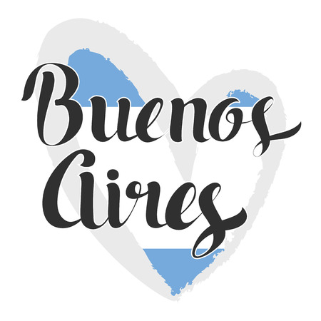 aires: Buenos Aires lettering. Hand written Buenos Aires. Modern hand lettering. Argentina flag in the shape of heart. Vector Illustration. Modern Calligraphy Illustration