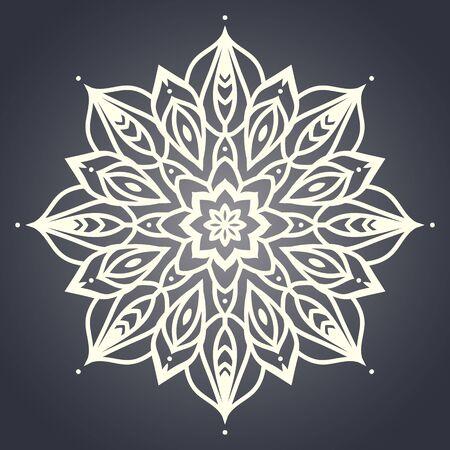 Mandala de la flor. Modelo étnico. Mandala ronda de líneas. Ilustración del vector. ornamento de la plantilla lineal Ilustración de vector