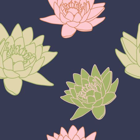 water lilly: Seamless pattern with lilies. Floral background with lilies. Beautiful floral pattern. Vector Illustration.