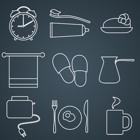 morning routine: Set of line icons. Morning icons. Morning routine. Vector line icons.