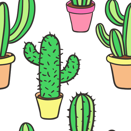 cactus cartoon: Seamless pattern with cactus. Pattern of cactus. Cacti in pots. Vector background. Cute cartoon cactus pattern.