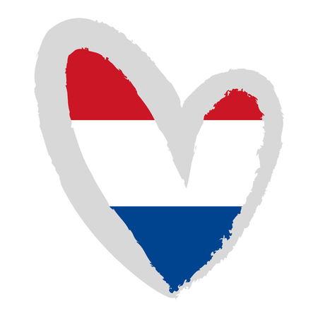 dutch flag: Dutch flag. Vector Illustration. The flag of the Netherlands in the shape of heart.