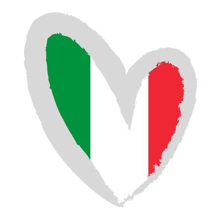 Italiaanse vlag. Vector Illustratie. Vlag van Italië in de vorm van een hart.