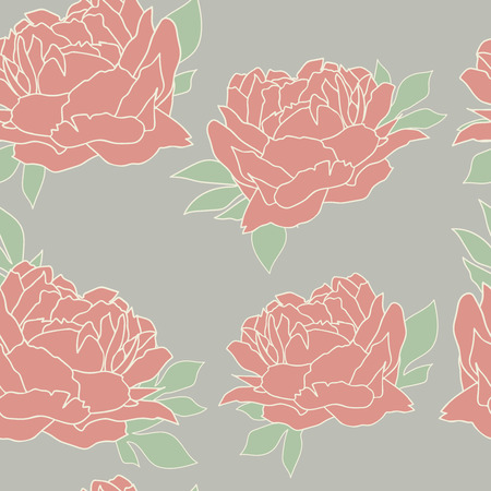 peon: Seamless pattern with peonies. Floral wallpaper. Floral background with peonies. Beautiful floral pattern. Illustration.