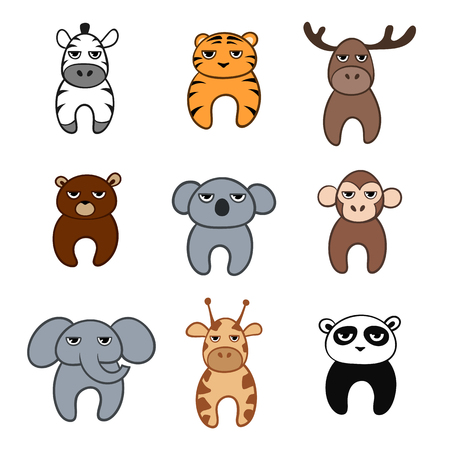 Set of cute cartoon animals with tired faces. Vector illustration